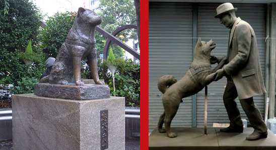 Aphoto of Hachiko's statue and the soon-to-be unveiled statue of Hachiko reunited with his master (Rocketnews24.com)